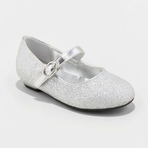 Girls Silver Sparkle Mary Jane Ballet Flats NWT